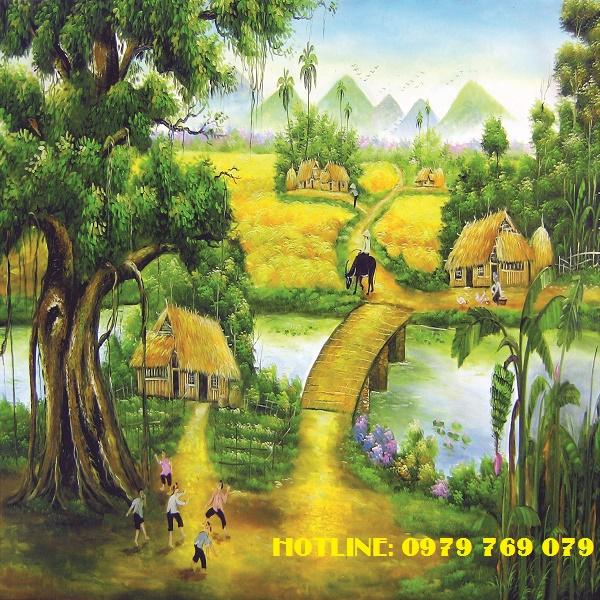 Rèm cuốn tranh làng quê TP05